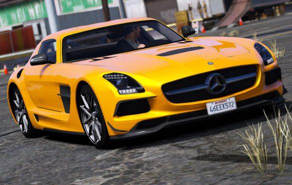 Mercedes Benz SLS Black series back gta v